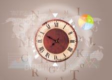 有世界的时钟计时并且提供经费给企业概念 图库摄影