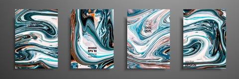 有丙烯酸酯的液体纹理的盖子 抽象五颜六色的构成 现代艺术品 与混杂的蓝色的传染媒介例证 皇族释放例证
