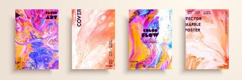 有丙烯酸酯的液体纹理的盖子 抽象五颜六色的构成 现代艺术品 创造性的流体上色背景 向量例证