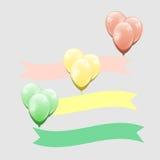 有丝带元素的五颜六色的气球 免版税图库摄影