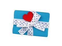 有丝带和心脏的礼物盒 免版税库存图片