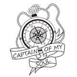 有丝带和文本Of My Soul上尉的葡萄酒指南针 刺激卡片 皇族释放例证