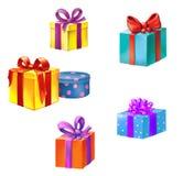 有丝带和装饰的礼物盒。 库存照片