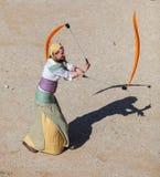 有丝带的中世纪女招待 免版税库存照片