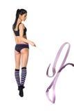 有丝带的体操运动员 免版税图库摄影