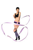 有丝带的体操运动员 免版税库存照片