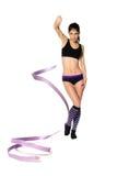 有丝带的体操运动员 免版税库存图片
