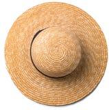 有丝带的俏丽的在白色背景的草帽和弓使帽子顶视图靠岸 库存图片