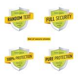 有丝带的保护盾 安全标签象 传染媒介被设置的徽章模板 图库摄影
