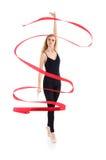 有丝带的芭蕾舞女演员热切突出 免版税库存图片