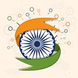 有丝带的Ashoka轮子为愉快的印地安共和国天 库存图片