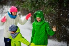 有两个儿子的母亲步行的在冬日 免版税库存图片