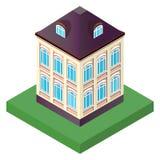 有两个地板的老房子与在透视的窗口 向量例证