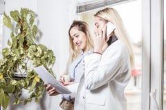有两个女性的同事企业交谈 免版税库存图片