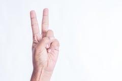 有两个手指的手从白色背景分离了 免版税库存照片