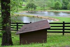 有两个池塘的西部NC农村国家山农场 库存图片