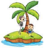 有两个男孩的一个海岛 图库摄影