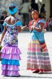 有两个的花女孩交谈 免版税库存照片