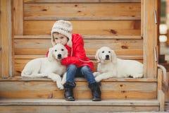 有两只小狗金毛猎犬的一个小女孩 库存照片