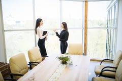 有两名秀丽的女实业家工作谈论在办公室屋子里反对全景窗口 库存图片