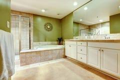有两场水槽、木盆和阵雨的绿色和白色卫生间。 免版税库存照片
