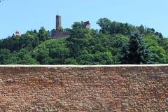 有两座城堡的森林地 库存照片