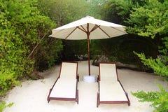 有两张轻便折叠躺椅的伞与在海滩的灰色苍鹭马尔代夫 免版税图库摄影