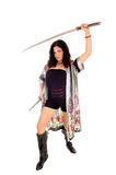 有两把剑的女孩。 免版税库存照片