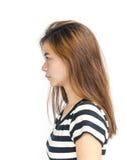 有严肃的神色的年轻亚裔妇女 库存照片