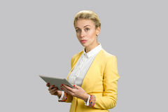 有个人计算机片剂的确信的企业夫人 免版税库存图片
