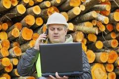 有个人计算机的森林雇员 免版税库存图片
