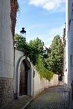 有中世纪房子的街道在布鲁日/布鲁基,比利时 免版税图库摄影