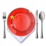 有中国旗子的一块板材 免版税图库摄影