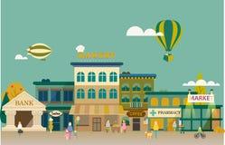 有中小商业的小镇。 图库摄影