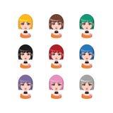 有中等长度头发的- 9种不同头发颜色偶然女孩 库存照片