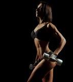 有举行哑铃的完善的身体的健身妇女 库存照片