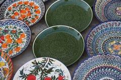 有乌兹别克斯坦全国装饰品的装饰的板材 库存照片