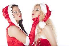 有乐趣的女孩圣诞老人性感二 图库摄影
