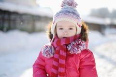 有乐趣的女孩少许冬天 图库摄影