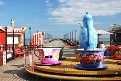 有乐趣的Skegness码头乘坐约克夏 库存照片