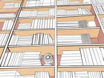 有书、闹钟和爱好者的家庭书库在葡萄酒样式 免版税库存图片