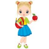 有书包和苹果计算机的传染媒介逗人喜爱的小女孩 库存例证
