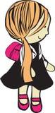 有书包的女孩 免版税库存照片