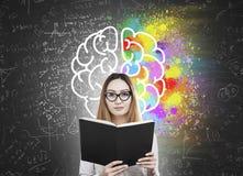 有书和五颜六色的脑子象的妇女 免版税库存图片