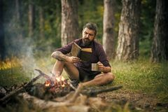 有书和杯子的行家远足者在篝火在森林里 库存图片