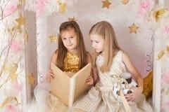 有书的两个女孩 图库摄影