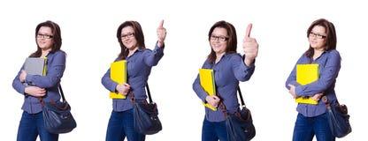 有书的女学生在白色 免版税库存照片