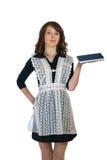 有书的女孩在手中 库存照片