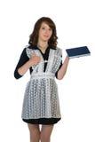 有书的女孩在手中 免版税库存照片