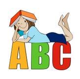 有书的女孩在顶头动画片传染媒介 免版税库存照片